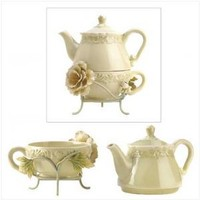 Ceramic Victorian Peony Tea For One Set Teapot Cup Mug