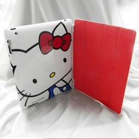 White Hello Kitty Hard Back Case + Red Leather Smart Cover Combo for iPad 2