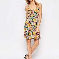Club L Cami Skater Dress in Sunflower Print with Strap Back Detail