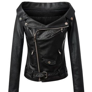 Women Sexy Off The Shoulder faux leather Jackets Outerwear Motorcycle