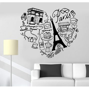 Vinyl Wall Decal Paris France Heart Travel Eiffel Tower Love Romance Stickers Unique Gift (1144ig)