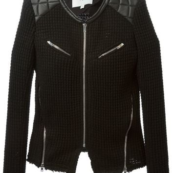Iro leather detail knitted jacket