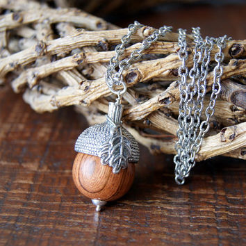 Woodland Acorn Necklace - Silver acorn cap - wooden acorn - Wood Acorn Necklace - rustic acorn necklace - Autumn Fashion