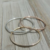 Thin Real Gold Ring - Rose Gold White Gold Wedding Ring -14k Solid Gold Ring - Gold Ring - Real Rose Gold  Real Yellow Gold  Real White Gold