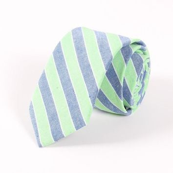 VEEKTIE Fashion Mens Necktie 100% Cotton 6.5cm Skinny Hand Sewing Men Casual Plaid Striped 3 Styles Green Neck Ties For Men