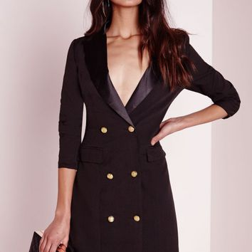 Missguided - Long Sleeve Tux Dress Black