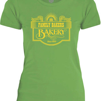 Big Texas Family Bakery Sign (Yellow) Womens Fine Jersey T-Shirt