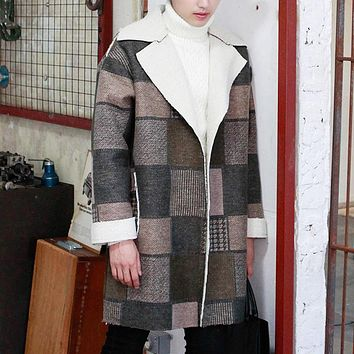 Winter  plaid wool coat male loose berber fleece outerwear thermal male vintage thickening trench