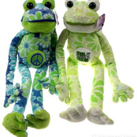Lot 2 Flower Power Frogs Free Hugs XOXO Peace Hanging Plush Embroidered