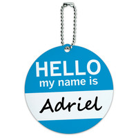 Adriel Hello My Name Is Round ID Card Luggage Tag