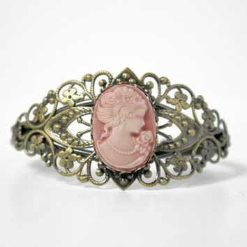 Antique Gold and Matte Rose Pink Lady Cameo Cuff Bracelet - Neo-Victorian Inspired Jewelry - Downton Abbey Gift Idea - Ready to Ship