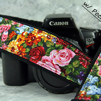 Flower Garden Camera Strap, Pocket, Floral, Roses, Tulips, dSLR, SLR, 70 cw