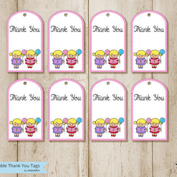 Printable thank you tags for twins boys - Party card - INSTANT DOWNLOAD, favor tags, party supplies, printable file, party, Twins Tag
