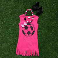Girls Soccer Outfit, Toddler Soccer Outfit, Girls Soccer Dress, Personalized Soccer Outfit, Soccer Sister, Girls Fringe Dress, Summer Outfit