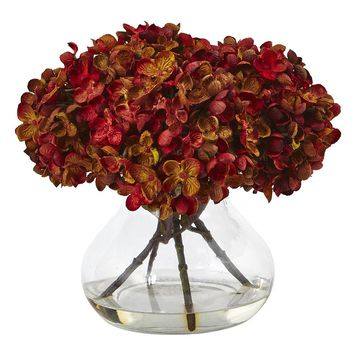 Silk Flowers -Hydrangea With Vase Flower Arrangement Artificial Plant