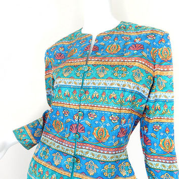 Vintage 90s Colorful Silk Women's Jacket - Size 6 - Adrianna Papell Jade Coral Blue Baroque Floral Collarless Spring Blazer