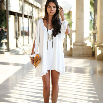 White Longsleeve Split Chiffon Mini Dress