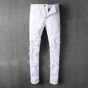 Mens White Ripped Jeans Pants With Holes Super Skinny Slim Fit Destroyed Distressed Denim Joggers Trousers For Male