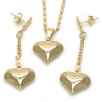 Gold Layered 10.32.0015.1.8 Earring and Pendant Adult Set, Heart and Mariner Design, Polished Finish, Golden Tone
