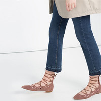 LACE - UP LEATHER BALLERINAS-View all-SHOES-WOMAN   ZARA United States