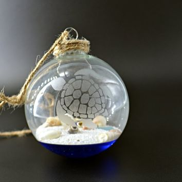 Sea Turtle Sea Glass and Seashell Ornament, Sea Turtle Gifts, Beach Christmas