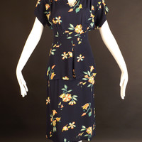 1940s Navy Floral Crepe Dress, Bust-36