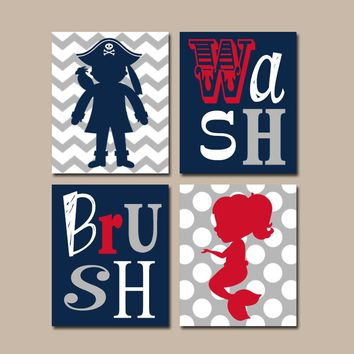 Mermaid Pirate BATHROOM Wall Art, Canvas or Prints, Brother Sister BATHROOM, Navy Gray Red, Chevron Polka Dots, Bathroom Rules, Set of 4