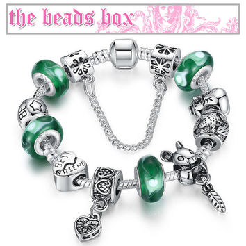 PA1433 Friendship Charm Bracelet 925 Sterling Silver Murano Glass & Crystal Beads + Free Shipping