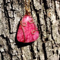 Rose ( Pink ) Crystal Quartz Twisted Necklace | Natural Stone Crystal Clear Pendant | Natural Stone Pendant | Square Shape Stone Necklace