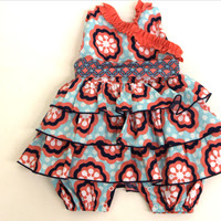 Nantucket Coral and Navy Bubble Suit