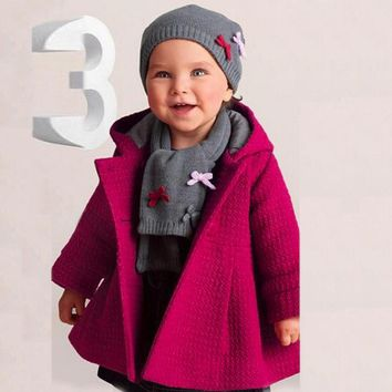 Fashion Baby Toddler Girl Autumn Winter Hot Pink Hoodded Overcoat Cloak Jacket Thick Warm Clothes roupa infantil menina casaco