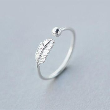 Hot Sale Atmosphere Personality 925 Sterling Silver Jewelry High-quality Feather Female Leaf Simple Opening Ring SR268