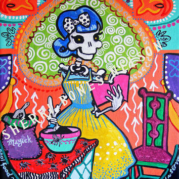 Mexican Folk Art Print - Kitchen Catrina 50s Housewife Magic Bakery Day of the Dead Painting