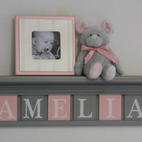 "Gray and Pink - Pastel Pink Baby Girl Nursery Decor - AMELIA - 24"" Grey Shelf with 6 Wooden Letters"