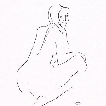 Simple sketch. Original art nude ink drawing illustration. Female figure from back. Minimalist home decor for bedroom.