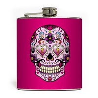 """Day of the Dead Skull"" Flask by Liquid Courage (Pink)"