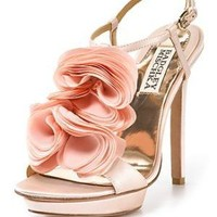 "Badgley Mischka ""Randee"" High Heel Ruffle Flower Sandals - Special Occasion & Evening - Bloomingdales.com"