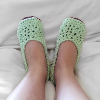 The Sleeping Beauty Slippers / Two Toned / Mint slippers / Maroon Soles / Womens Slip On Shoes / House Slippers