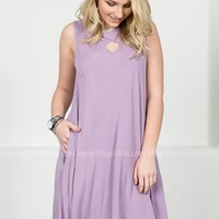 Bright Purple Bamboo Pocket Dress