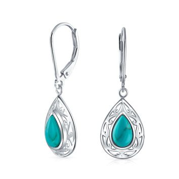 Turquoise Leverback Scroll Filigree Dangle Earrings Sterling Silver