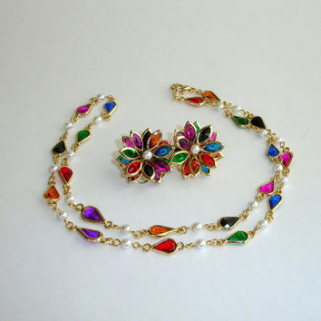 Vintage Necklace and Earrings: Colorful Beveled Glass, Multicolored Gold Tone Faux Pearl Beaded Necklace Set, Layering Necklace, Demi Parure
