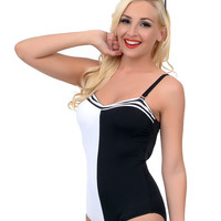 1960s Style Mod Black & White Color Block Sweetheart Maillot Swimsuit