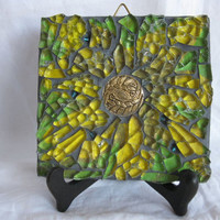 Yellow flower wall art Mixed Media Mosaic by Margalita on Etsy