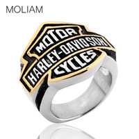 MOLIAM 2016 Famous Brand Men Rings Large Size 8-15 Silver Stainless Steel Motor Cycles Biker Ring Punk Jewelry BR025