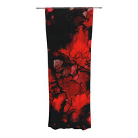"Claire Day ""Vesuvius"" Red Dark Decorative Sheer Curtain"