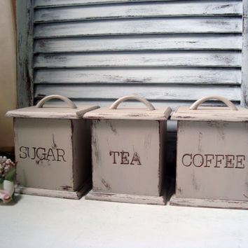 Shabby Chic Canister Set, Vintage Wooden Coffee, Tea, Sugar Canisters, Tan Painted Storage Containers, French Cottage, Farmhouse, Up Cycled