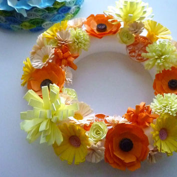 handmade flower Wreath of paper quilling in fresh color -orange yellow, fresh summer home decor, summer gift, new