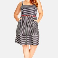 Plus Size Women's City Chic Stripe Skater Dress,