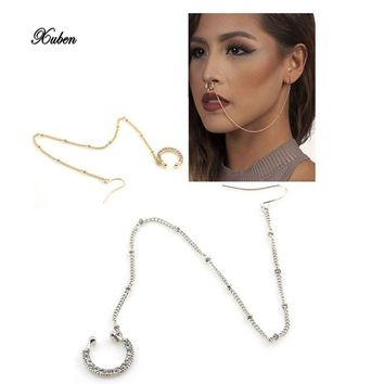 2017 New Arrival Crown Pierced Rhinstone Nose Hoop Nose Rings Fake Septum Clicker Body Piercing Jewelry Hanger Clip On Set Chain