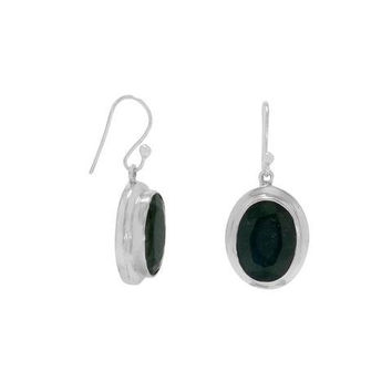 "Oval Faceted Rough-Cut ""Emerald"" Drop Earrings on Sterling Silver French Wire"